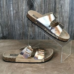 4ecf3e2b2aee Mudd Shoes - MUDD Womens 7 8 Gold Molded Sandals Double Strap